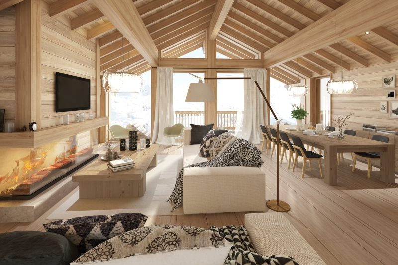 meribel mountain resort property - living room