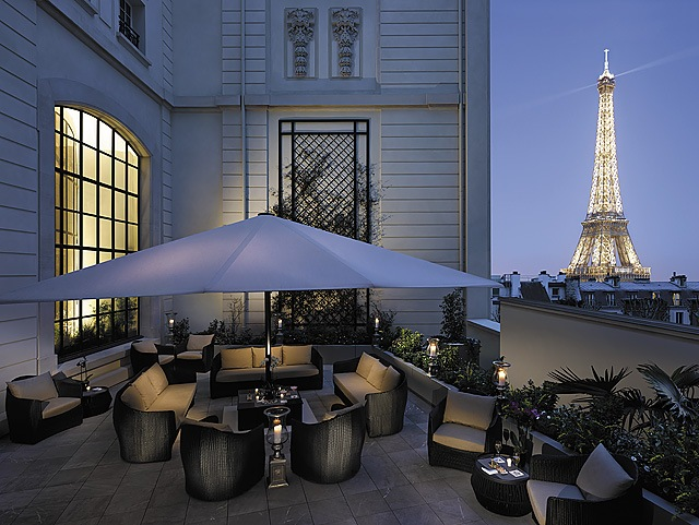 IMAGE: View of the Eiffel Tower from the spectacular Shangri-La Hotel Paris