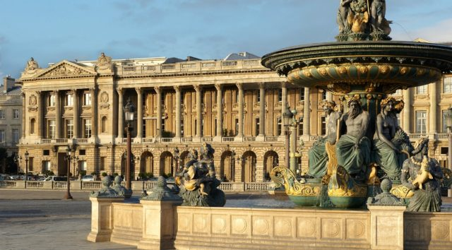 IMAGE: View from the fountain showing neo-classical facade of Hotel de Crillon