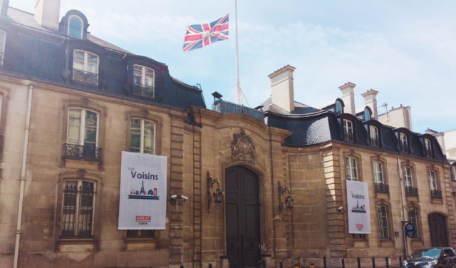 IMAGE: View of the British embassy in Paris with Union Jack flying