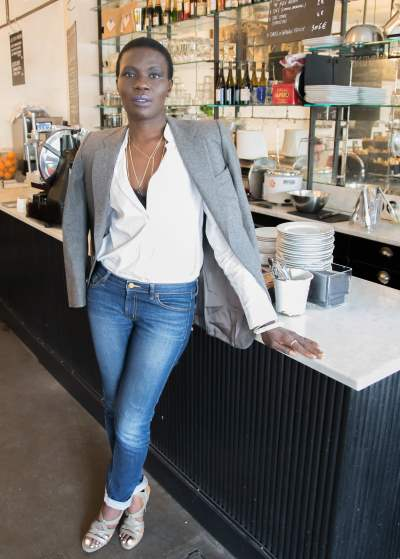 IMAGE: Parisian blogger Yanique Francis at a favourite cafe