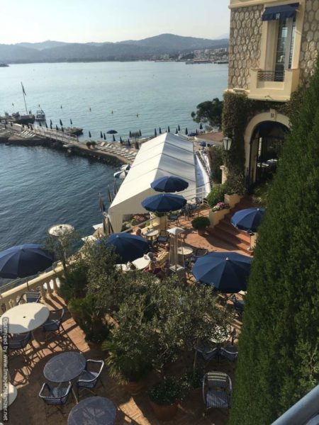 IMAGE: View looking down at the Belles Rives hotel in Antibes