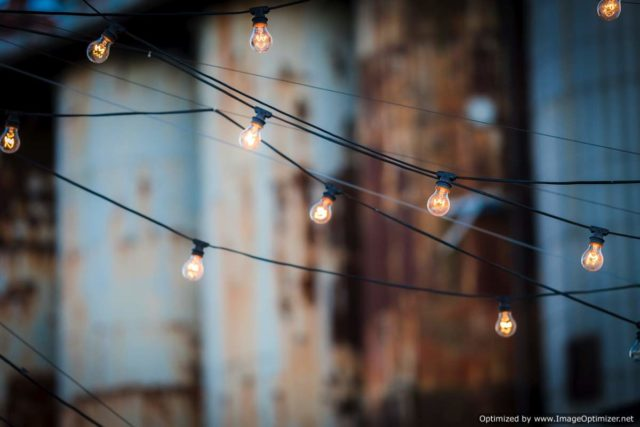 IMAGE: Strings of lights on a rooftop bar