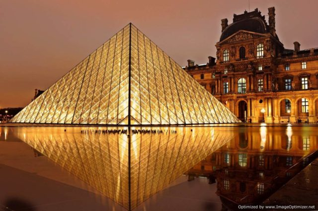 IMAGE: Evening view of the pyramid at the Louvre in Paris