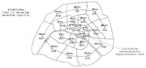 IMAGE: Map of Paris showing the designated time to arrive in each one of the 20 arrondissements