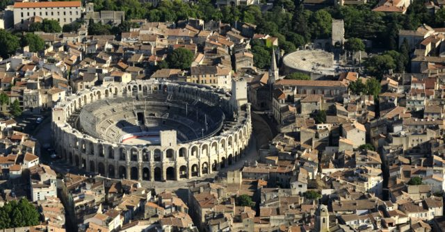 IMAGE: Aerial view of Arles showing the two-tiered Roman amphitheatre