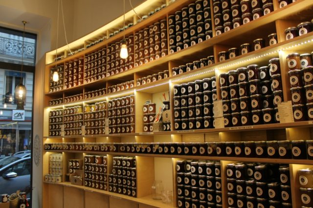 IMAGE: Shelves of preserves at La Chambre aux Confitures in the rue des Martyrs