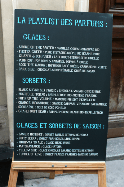 IMAGE: Sign showing the 'Playlist des Parfumes' outside Glaces Glazed in the rue des Martyrs