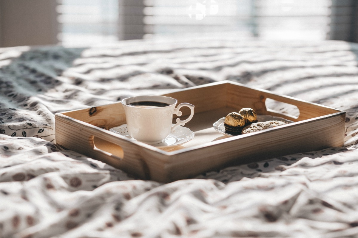IMAGE: Tray with a coffee in a china cup
