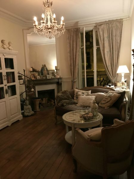 View of the lounge area of the apartment in Montmartre