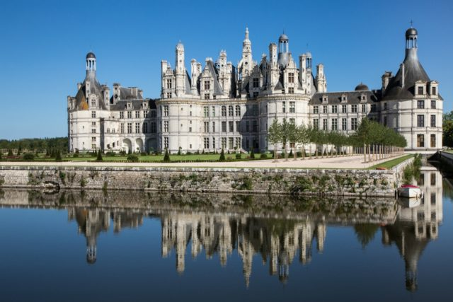 The distinctive silhouette of Château de Chambord in the Loire