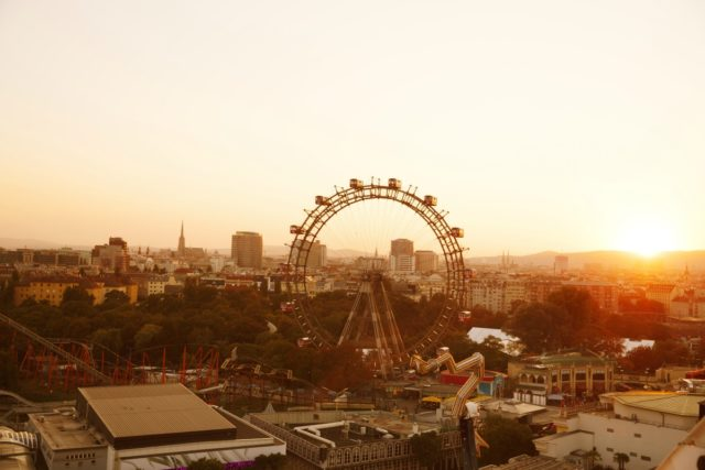 IMAGE: View over the Prater park to the Vienna skyline