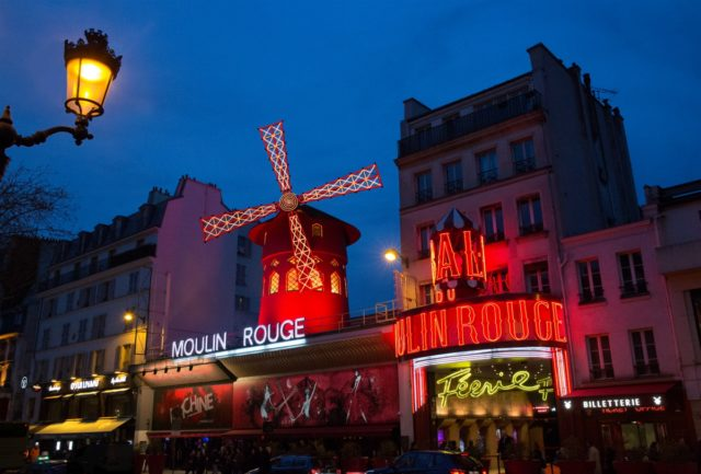 IMAGE: Shot showing the front of the Moulin Rouge at night