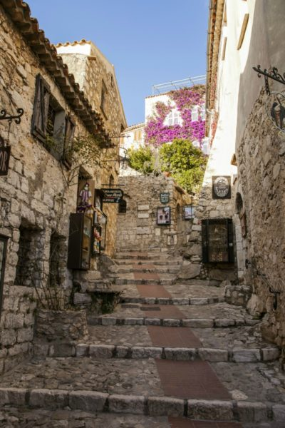 IMAGE: View looking up some pretty stone steps in the village of Èze