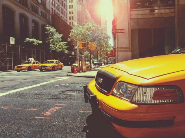 IMAGE: Iconic view of yellow New York cabs