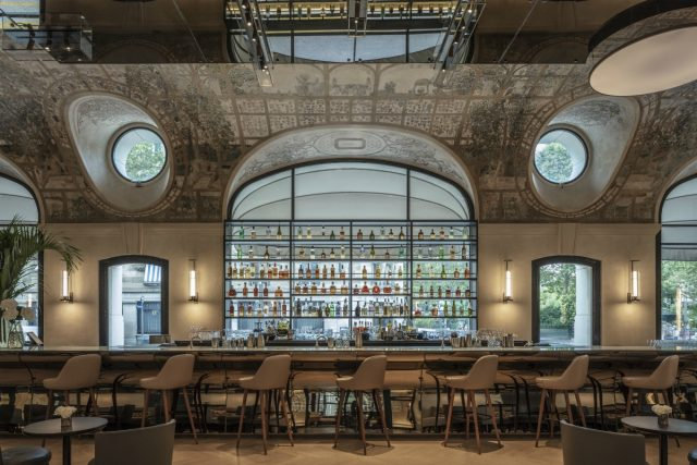 IMAGE: Front-on picture of the bar at the Lutetia showing all the bottles etc