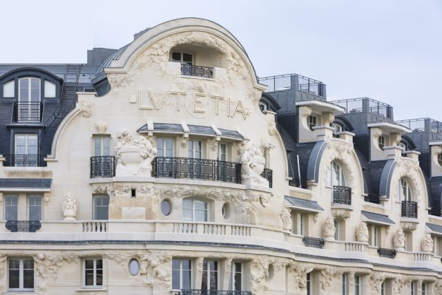 IMAGE: The front of the Lutetia hotel showing the iconic lettering on the facade