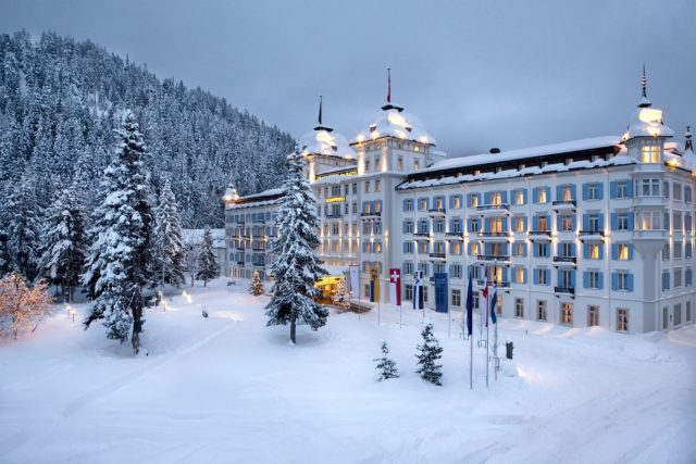 IMAGE: Exterior of the Kempinski hotel in the snow