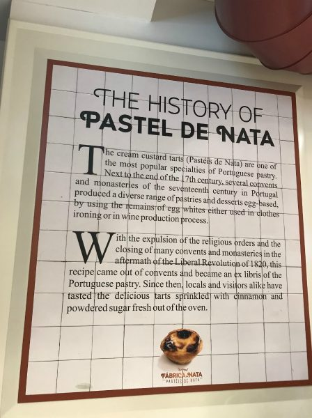 Sign explaining how the 'pastel de nata' is made - and also about its history