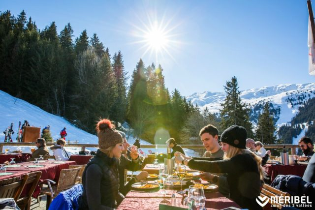 Skiers availing themselves of the plentiful fare offered at the resort
